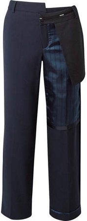 Paneled Wool-blend And Striped Satin Straight-leg Pants - Navy