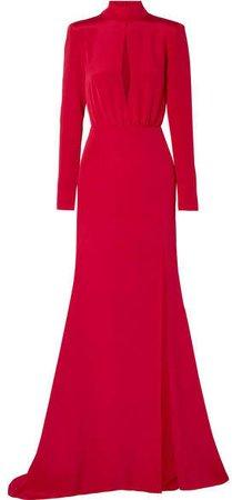 Burnett New York - Cutout Silk-crepe Gown - Red