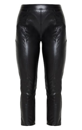 Daysha Black Cropped Faux Leather Trousers   PrettyLittleThing