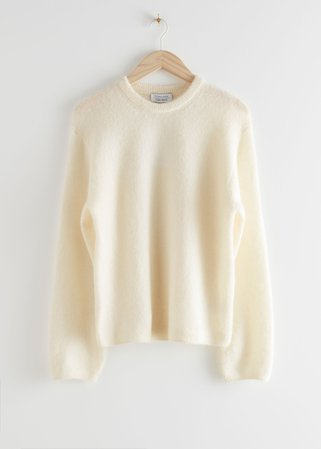 Fuzzy Wool Blend Sweater - White - Sweaters - & Other Stories