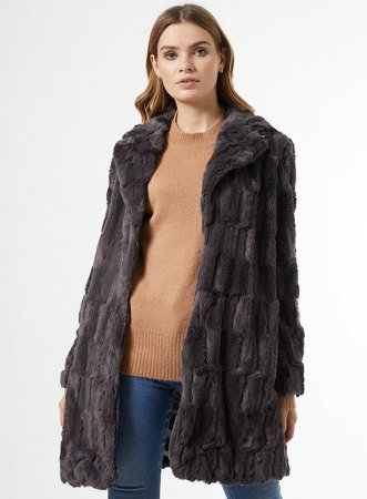 Grey Longline Faux Fur Coat