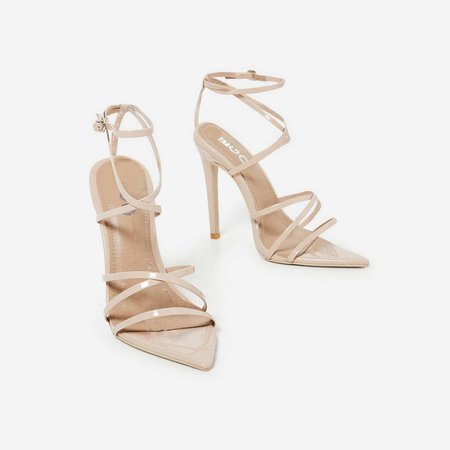 Kaia Pointed Barely There Heel In Nude Patent | EGO