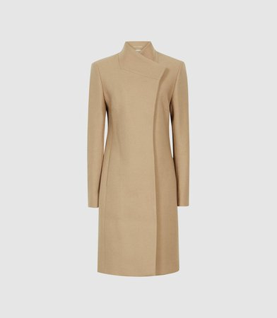 Mia Camel Wool-Blend Double-Breasted Coat – REISS