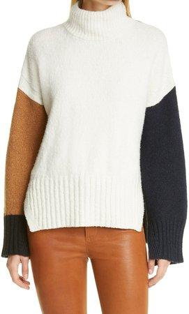 Colorblock Wool Blend Turtleneck Sweater