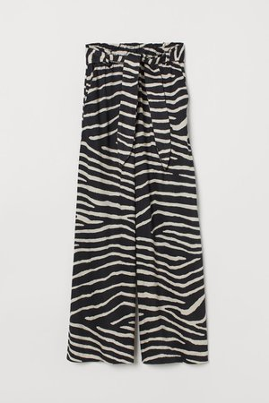 Wide trousers - Black/Zebra print - Ladies | H&M
