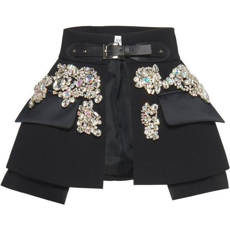 black rhinestones belt skirt