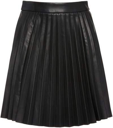 Red Valentino Pleated Leather Mini Skirt