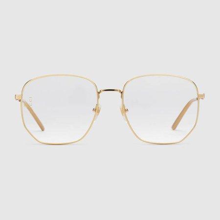 Gucci Runway | Rectangular-frame metal glasses - Look 62 - SS19_FSWLook062US