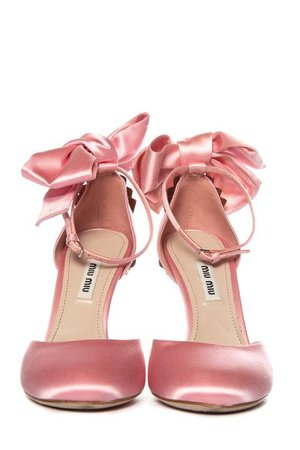 Miu Miu Pink Satin High-Heel Ankle Strap Cut-Out Pumps SZ 36
