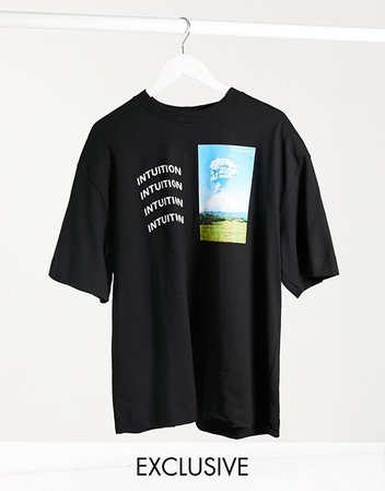 COLLUSION oversized t-shirt with print in black   ASOS