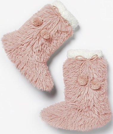 pink fluffy slipper socks