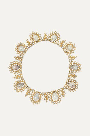Buccellati   18-karat yellow and white gold, pearl and diamond necklace   NET-A-PORTER.COM
