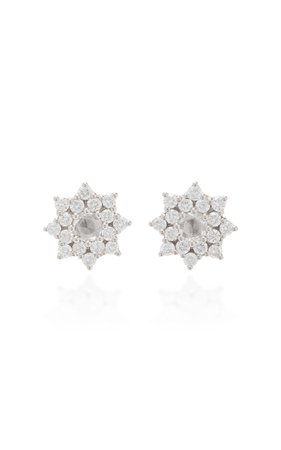 Parulina 18K White Gold And Diamond Earrings