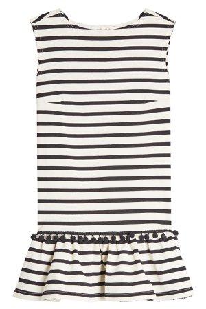 Striped Pom Pom Dress Gr. M