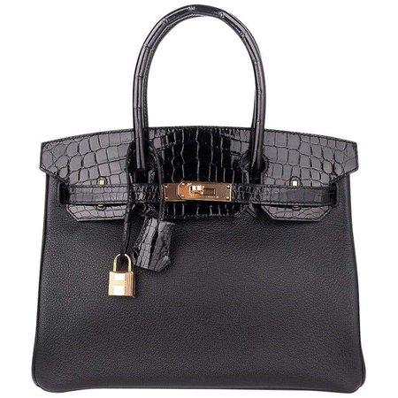 Hermes Birkin 30 Touch Bag Black Crocodile / Black Leather Rose Gold Hardware