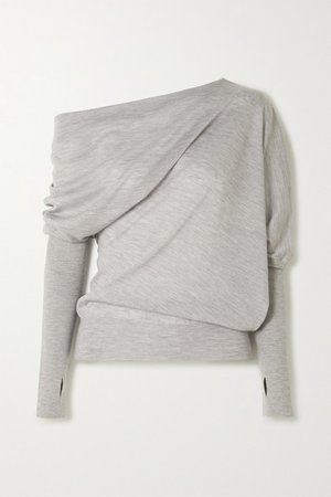 TOM FORD | Off-the-shoulder cashmere and silk-blend sweater | NET-A-PORTER.COM