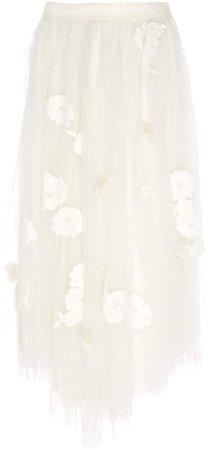 Rowena Floral-Embroidered Tulle Midi Skirt