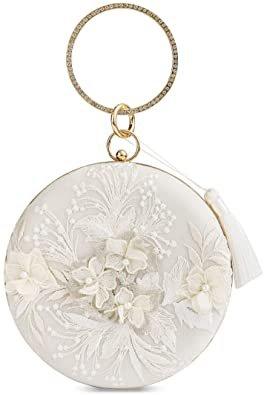 Womens Flower Vintage Clutch Bag Designer Wedding Bag, Evening Handbag, Lady Party Clutch Purse, Great Gift Choice (Beige-Embroidery Big Round): Handbags: Amazon.com