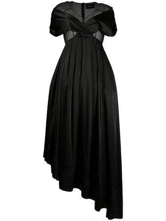 Shop black Simone Rocha sheer panel asymmetric hem dress with Express Delivery - Farfetch