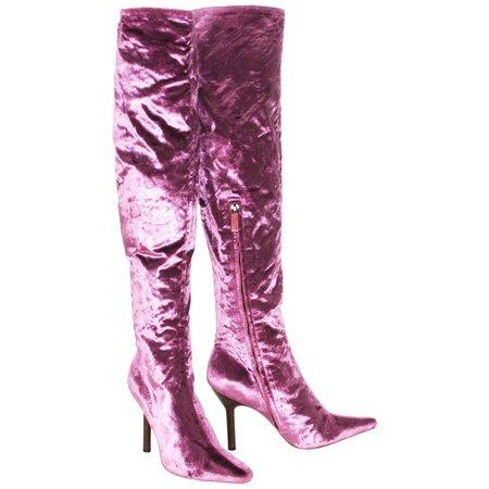 Tom Ford for Gucci Vintage F/W 1999 Pink Velvet Over Knee Boots 7.5 B For Sale at 1stDibs