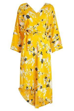 Printed Silk Dress with Asymmetric Hem Gr. S