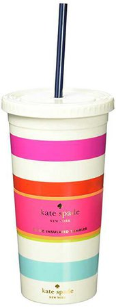 Amazon.com: Kate Spade New York Tumbler with Straw, Candy Stripe, Multi: Kitchen & Dining