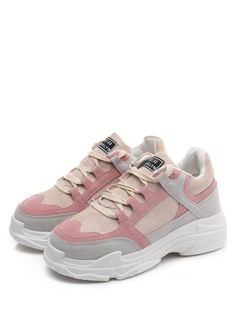 Color Block Lace Up Trainers