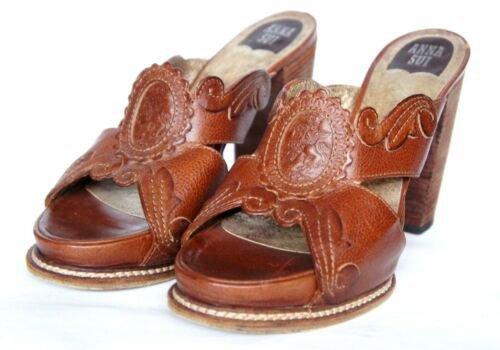 Anna Sui Brown Stamped Leather Open-Toe Mule Block High Heel EU Size 39 (US 8.5)   eBay