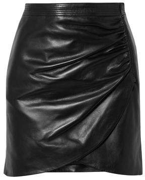 Wrap-effect Zip-detailed Leather Mini Skirt