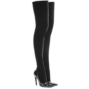 Velvet and patent leather over-the-knee boots BLACK