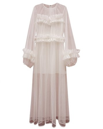 ROMANCHIC See-Through Frilled Dress