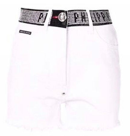 PHILIPP PLEIN: Stud Detail Denim Shorts