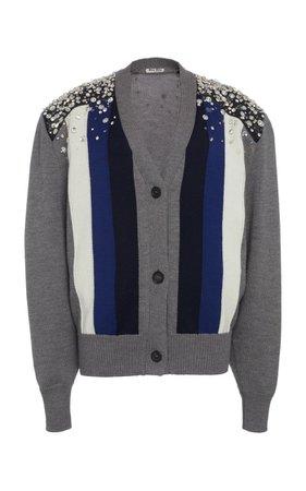 Embellished Striped Wool Cardigan By Miu Miu | Moda Operandi