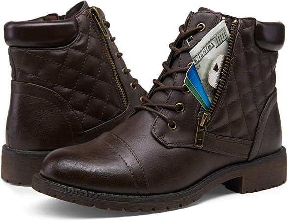 Amazon.com | VEPOSE Women's Ankle Boots Dark Brown Fashion Booties Low Heel Lace up Ankle Boots for Women Size(8.5, Ankle Booties-910-Dark Brown) | Ankle & Bootie