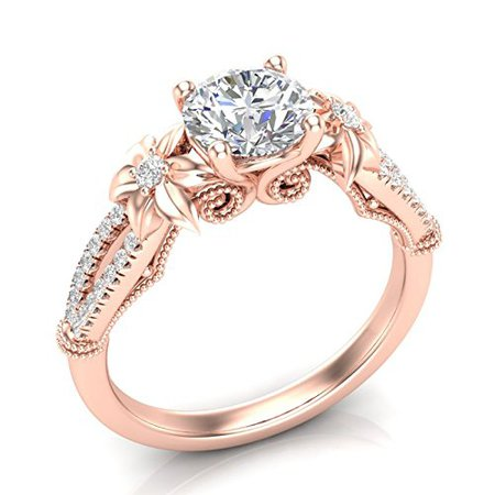 Amazon.com: Flower Engagement Ring Vintage Filigree Ring Floral Petal Ring Rose Gold Ring 14K Split Shank Engagement Ring Vintage Milgrain Engagement Ring Art Deco Forever One Colorless Moissanite Center Ring Her: Handmade