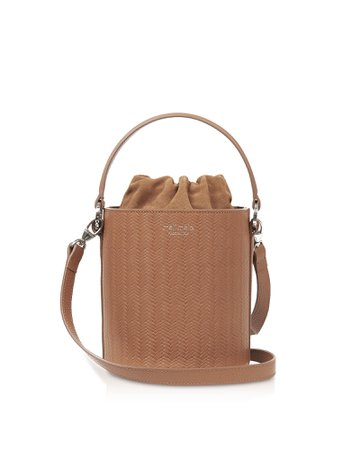 Meli Melo Light Tan Woven Santina Mini Bucket Bag