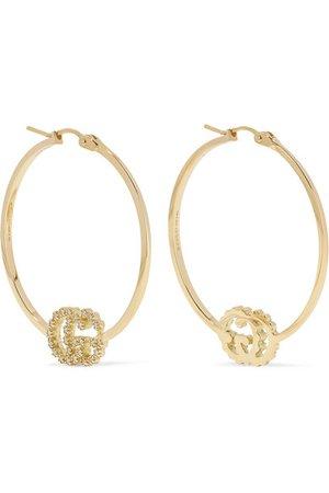 Gucci   GG Running 18-karat gold diamond hoop earrings   NET-A-PORTER.COM