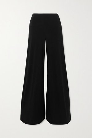 Elephant Stretch-jersey Wide-leg Pants - Black