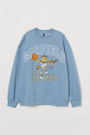 Oversized Printed Sweatshirt - Blue