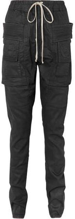 Coated Denim Tapered Pants - Black