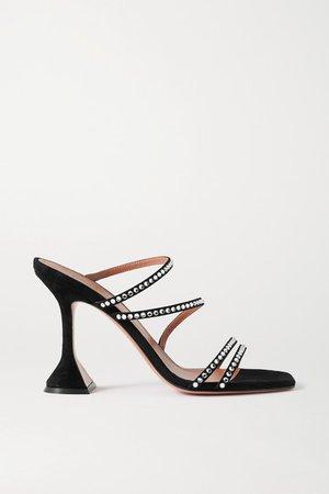 Naima Crystal-embellished Suede Sandals - Black