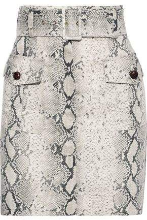 Corsage Safari Snake-print Linen Mini Skirt