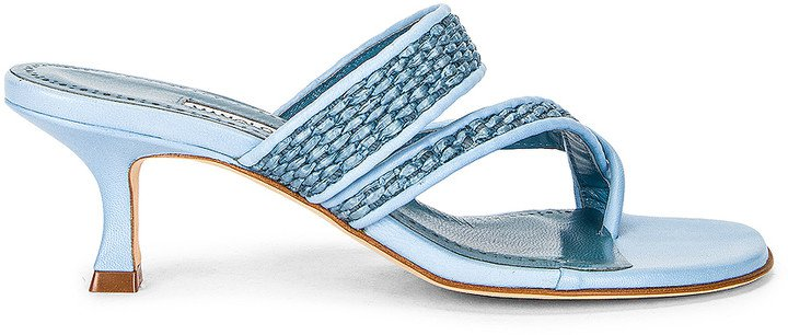 Susa 50 Raffia Sandal in Light Blue | FWRD