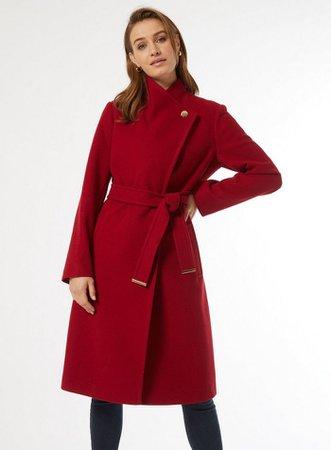 Red Funnel Wrap Coat | Dorothy Perkins