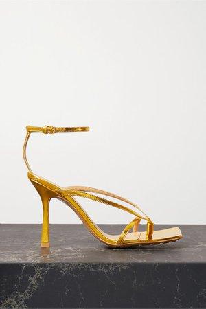 Metallic Leather Sandals - Gold