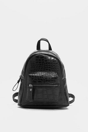Black Croc Structured Mini Backpack | Nasty Gal
