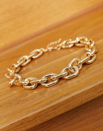 ASOS DESIGN necklace in chunky chain link in gold tone | ASOS