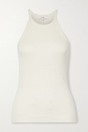 Ribbed Cotton And Modal-blend Tank - Ecru