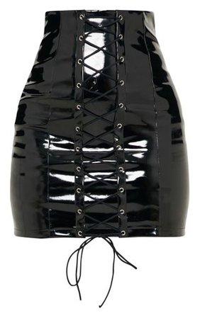 Black Vinyl Lace Up Mini Skirt | Skirts | PrettyLittleThing
