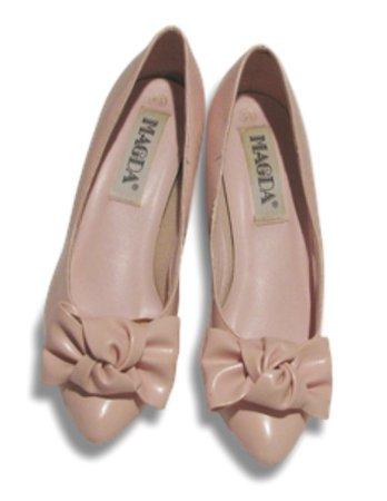 pink vintage magda bow flats